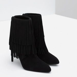 Zara Woman Black Pointed Toe Fringe Stiletto Boots
